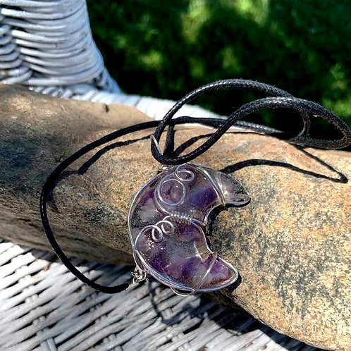 Amethyst Cresent Moon Necklace