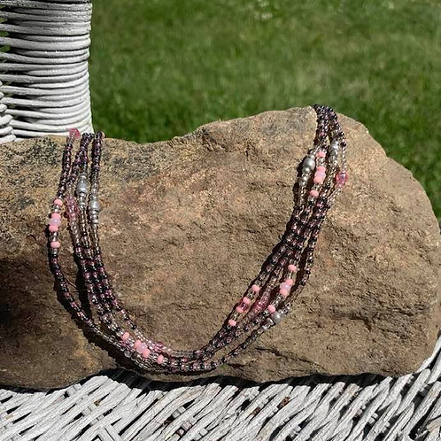 Pink, Dark Gray Silver Glass Beaded Necklace 44""
