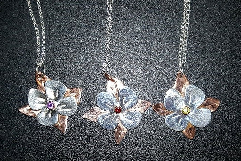 Sterling Silver and Copper Flower with Gemstone Center