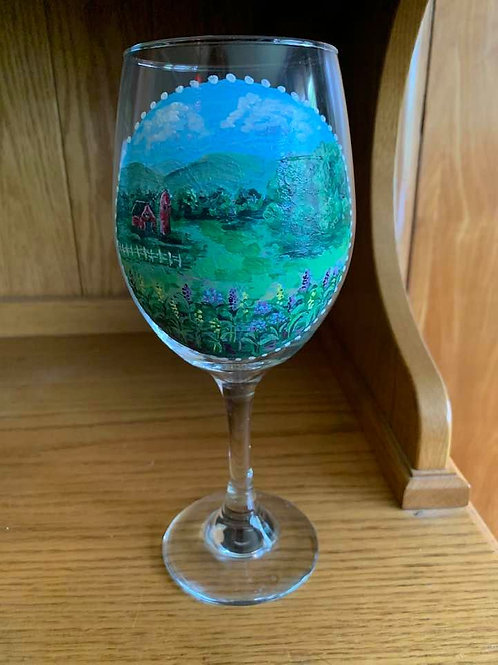 Hand Painted Hudson Valley Scene Wine Glass