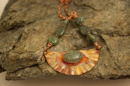 Flame Painted Copper Half-Circle Necklace with Serpentine Stone
