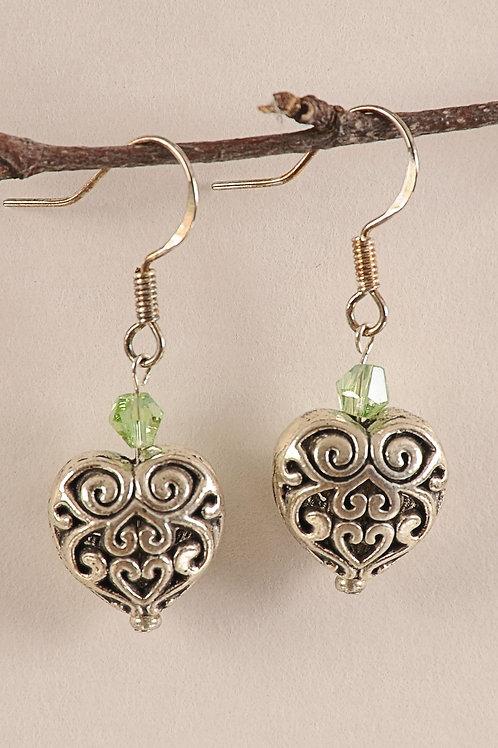 Lime Green Glass Beaded Heart Sterling Silver Earrings