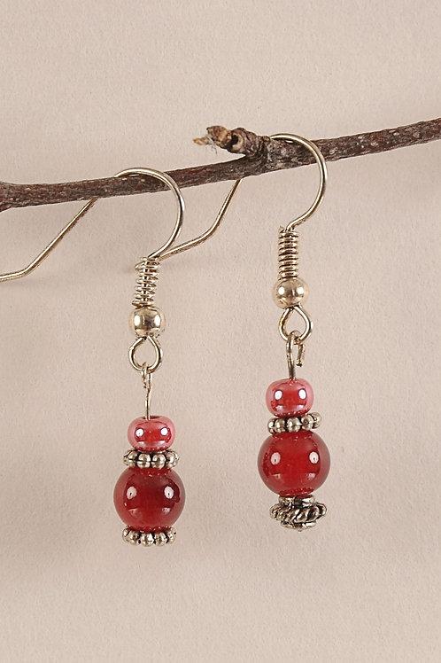 Red & Orange Glass Beaded Sterling Silver Earrings