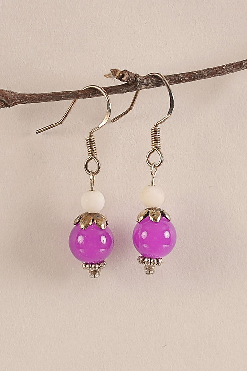 Pink Glass Beaded Sterling Silver Earrings