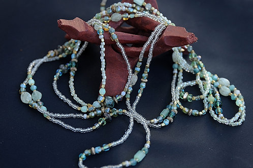 Greenish Blue & Clear Glass Beaded Necklace 44""