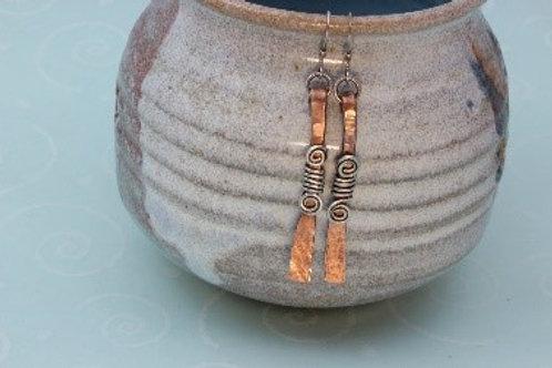 Copper Bar with Sterling Silver Swirl Wrap Earrings