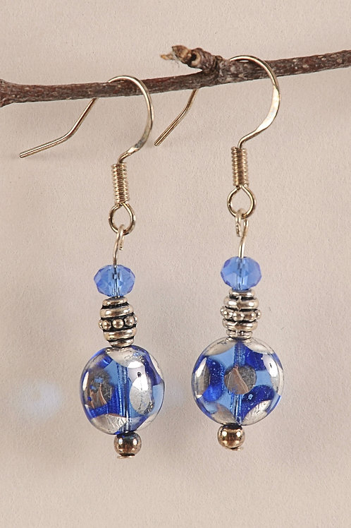 Blue with Silver Dots Glass Beaded Sterling Silver Earrings