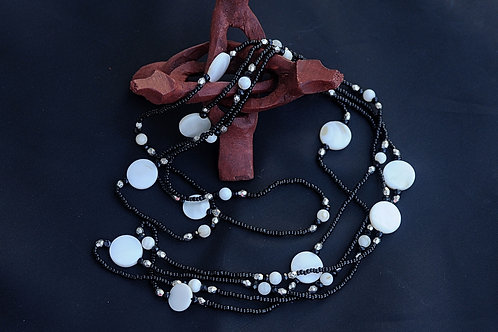 """Beaded Necklace with Black and Pearl Like Glass Beads 44"""""""