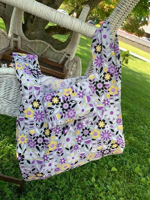 Reusable Fold Away Shopping Bag Purple Flowers