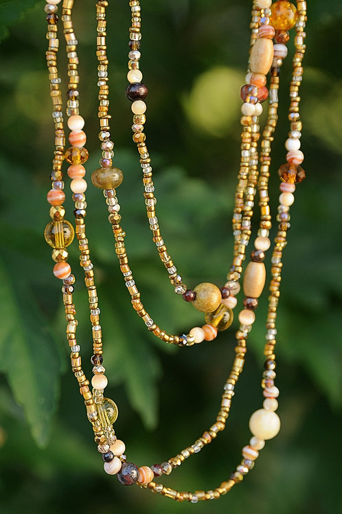 """Brown Glass Beaded Necklace 44"""""""