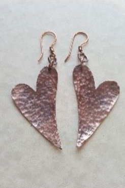 Hammered Copper Offset Heart Earrings