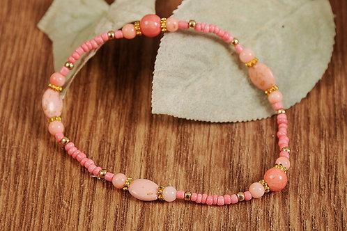 "Peach Glass Beads Stretch Bracelet 7"""