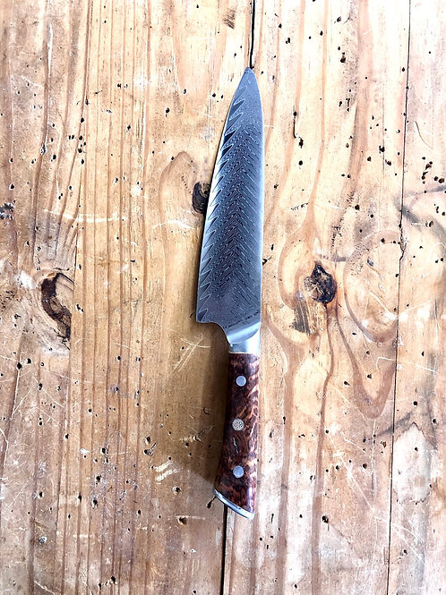 "8"" Stainless Damascus Chef Knife With Snakewood Handle"
