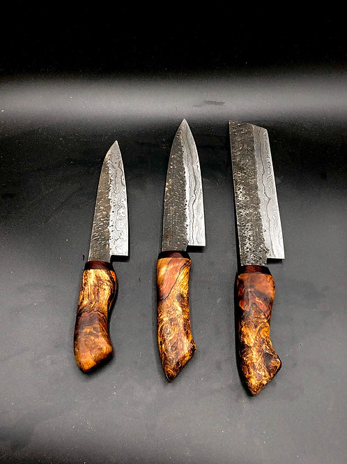 3 piece set with coral maple and cocobolo