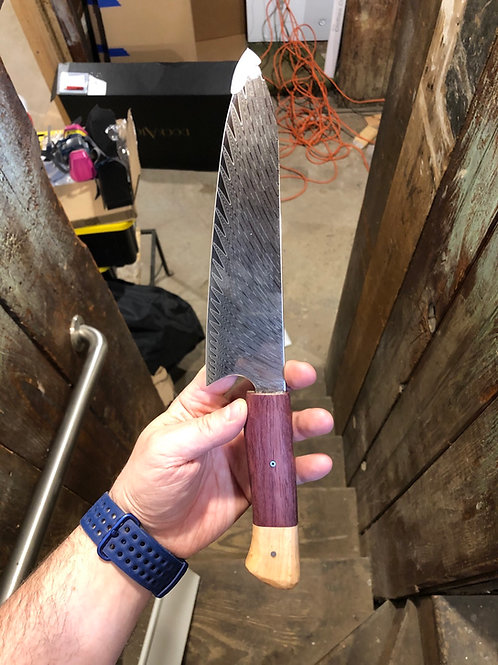 "8"" Chef Knife with PurpleHeart and Birdseye Maple Handle"