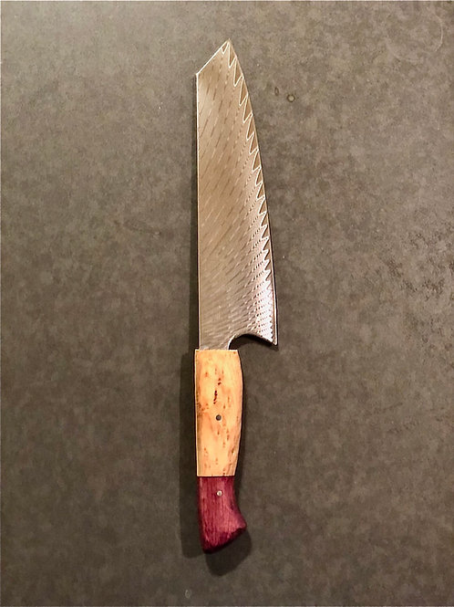 "8"" Kiritsuke with Birdseye Maple and Purpleheart Handle"