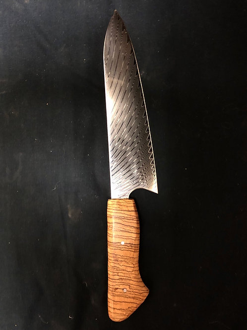 "8"" chef knife with Zebrawood handle"