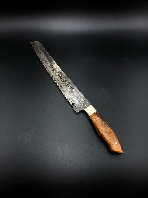 "9"" bread knife with Hawaiian Mango wood handle"