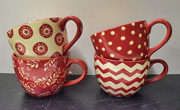 Red and Cream Large Patterned Mugs (set of 4)