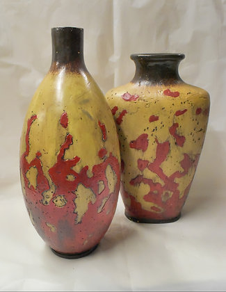 Large Red and Carmel Ceramic Vases (set of 2)