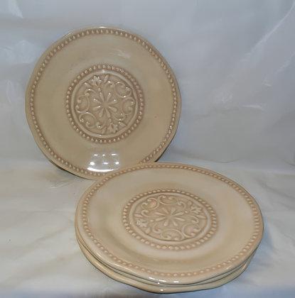 Cream Patterned Melamine Dinner Plates (set of 4)