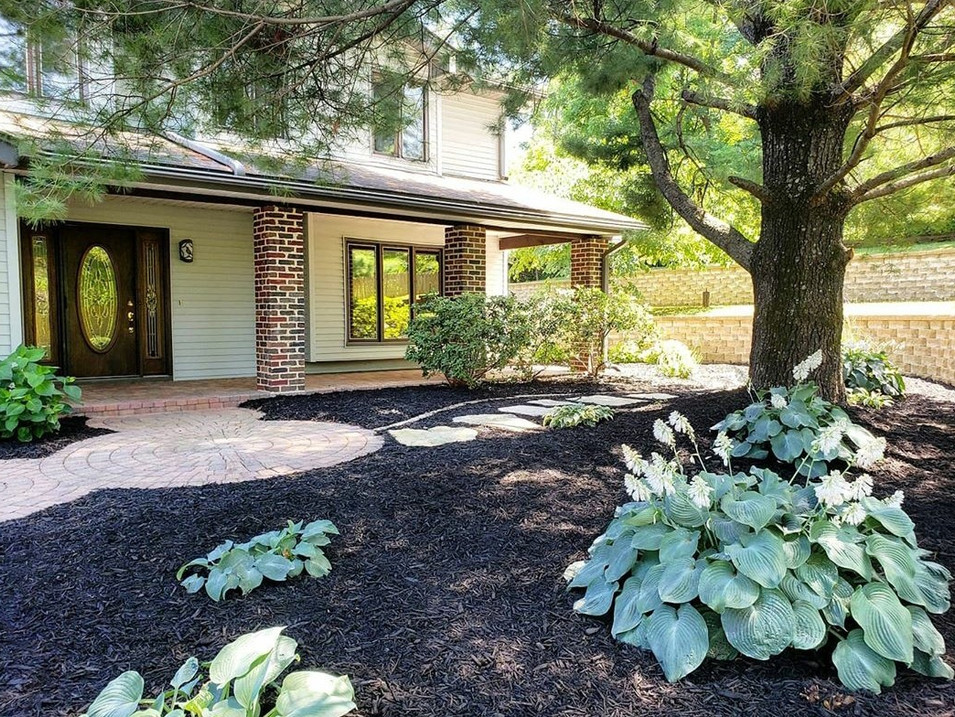 Exterior landscaping front of the house