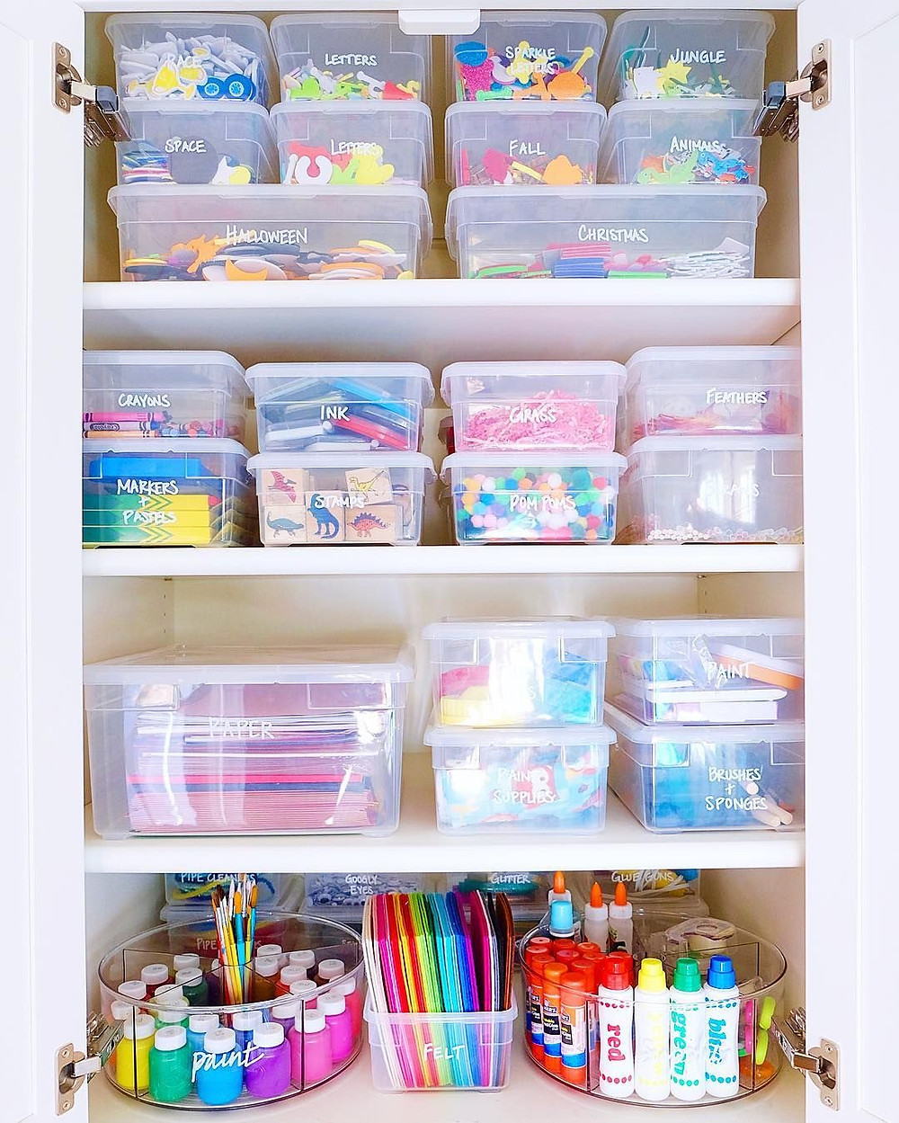 the home edit, storage containers, labels, storage solutions, organizational solutions, clear bins, closet storage, craft storage, staging 2 sell it services