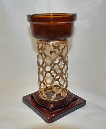 Amber and Gold Glass and Metal Candlestick Holder