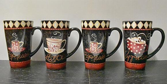Coffee Themed Tall Mugs (set of 4)
