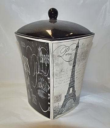 Large Ceramic Black & Cream Paris Canister