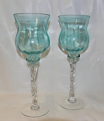 Tall Teal Glass Tea Light Holders (set of 2)