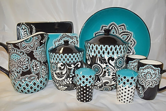 Black, White & Teal Modern Paisley Pattern Kitchen Set (13 pieces)