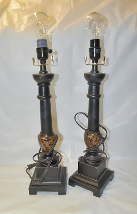 Black with Bronze Accent Lamp (set of 2)