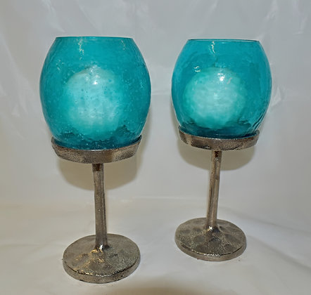 Teal and Hammered Metal Candle Holders with White Globe Candles (set of 2)