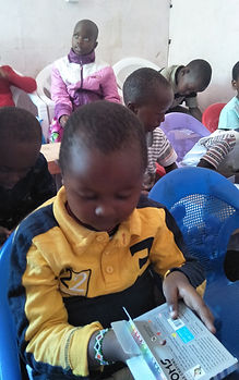 Child taking crayon