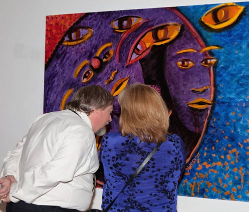 Ribbie's art material supplier admiring