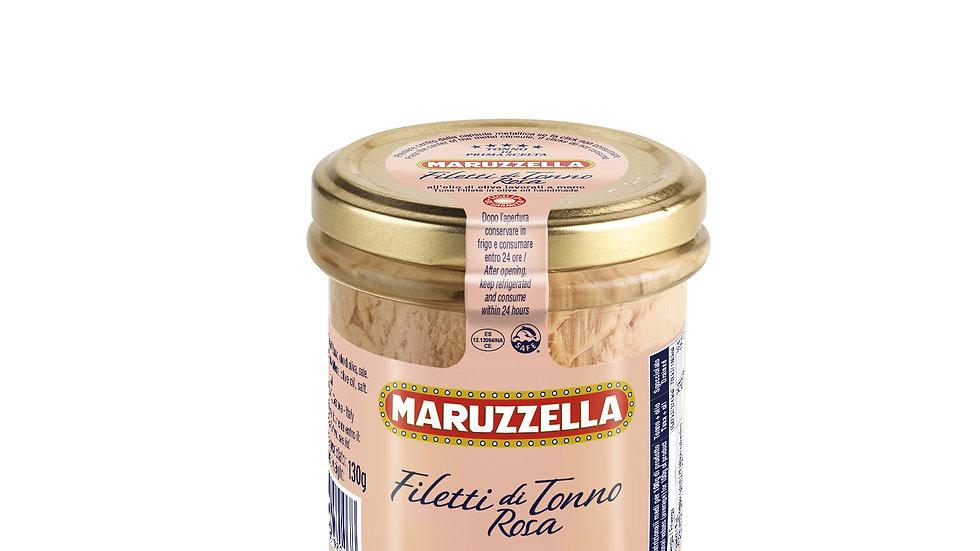 180 Gr Filetti tonno rosa in Olio di oliva vaso vetro