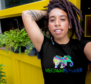 vegan power t shirt. vegan elephant mandala t shirt