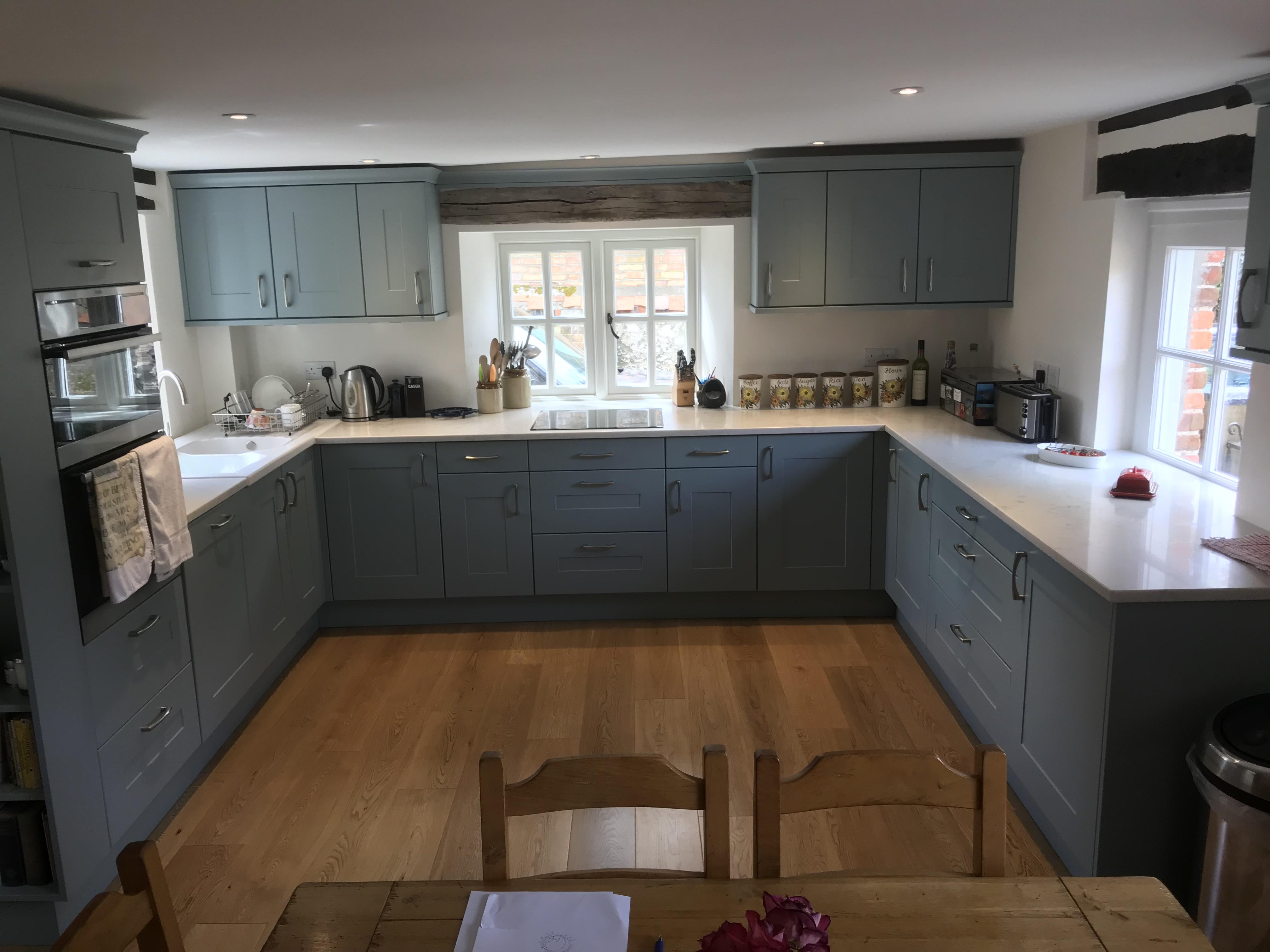 Dark Blue and Oak Wood Kitchen