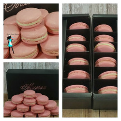 Pink Macarons for an order last weekend.  White chocolate ganache filling