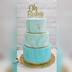 Blue marble baby shower cake