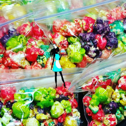 Mini bags of candied popcorn ! Lime, pineapple, watermelon, bubble gum cherry,  and strawberry banan
