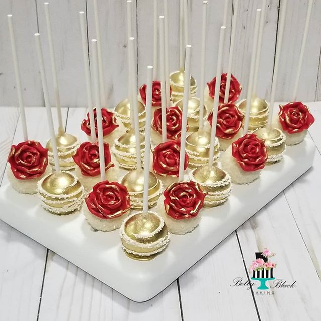 Rose and gold cake pops
