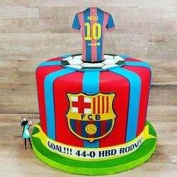 Soccer themed birthday cake. Messi jersey