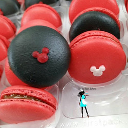 Mickey theme macarons with dulce de leche filling