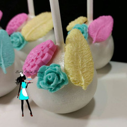 Close up ! Feathers & flowers cake pops