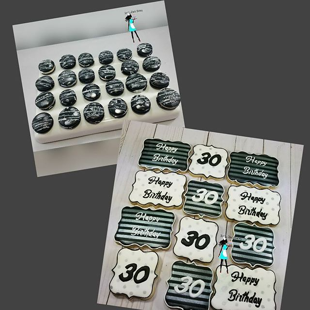 One of today's delivery. 30th birthday Macarons and Sugar cookies