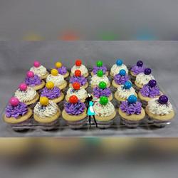 Candy land theme cupcakes. Vanilla cupcakes