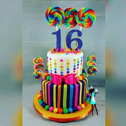Sweet 16 Candy Land theme birthday cake