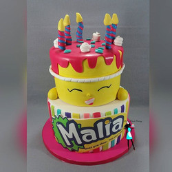 My daughter's birthday cake for her party today! Shopkins theme!Strawberry  and vanilla cake